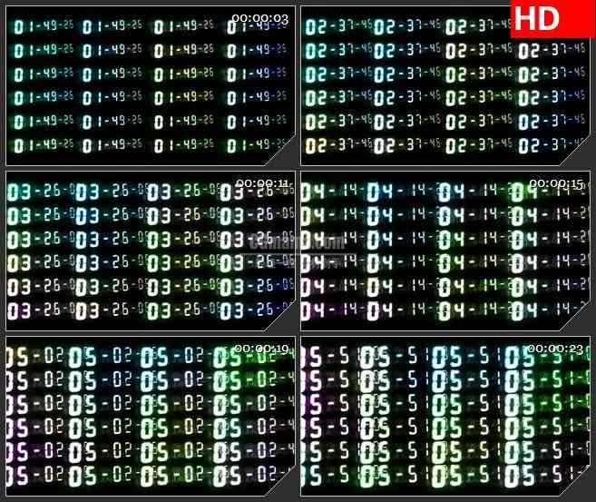 BG1500时间计数器数字墙变换动态LED高清视频背景素材