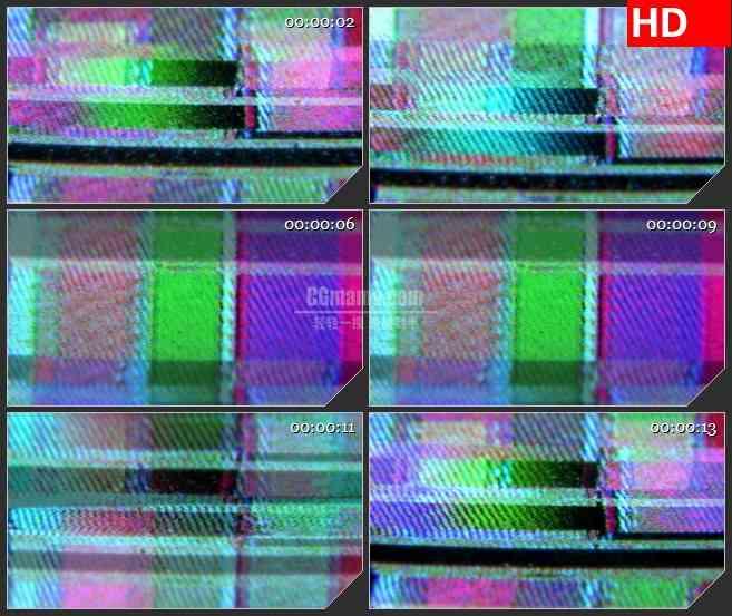 BG1503视频跟踪VCR屏幕电视信号干扰混乱彩条动态LED高清视频背景素材