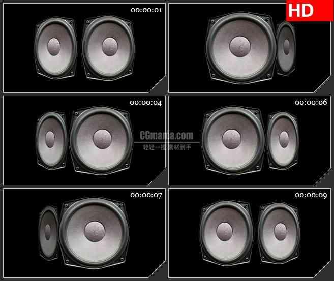 BG1558音响喇叭低音炮旋转震动音乐震撼动态LED高清视频背景素材