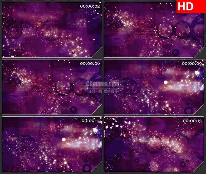 BG1570暗紫色葡萄紫圆环背景白色粒子带旋转动态LED高清视频背景素材