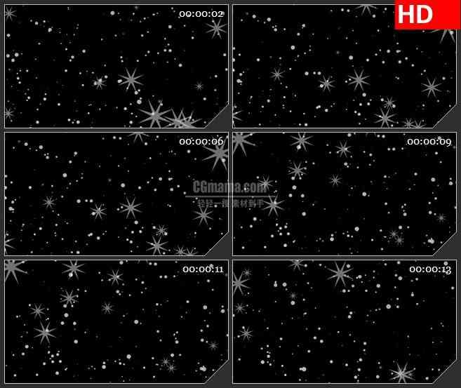 bg1574白色星星颗粒抽象花朵图案黑色背景动态led高清视频背景素材