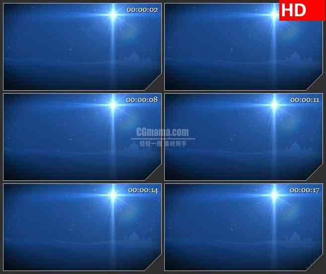 BG1579伯利恒之星蓝色背景星光启明星动态LED高清视频背景素材