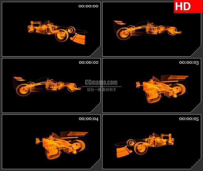 BG1586橙色半透明跑车模型旋转三维动画动态LED高清视频背景素材