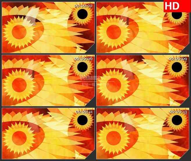 BG1604橙色黄色旋转向日葵动态LED高清视频背景素材