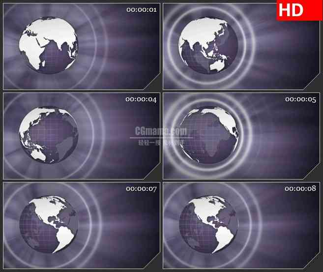 BG1605地球辐射光束旋转三维动画动态LED高清视频背景素材