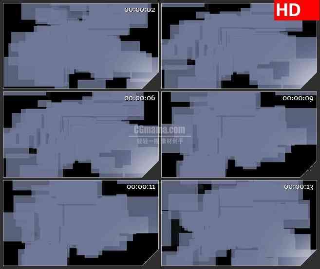 BG1609堆叠灰蓝色半透明模块动态LED高清视频背景素材