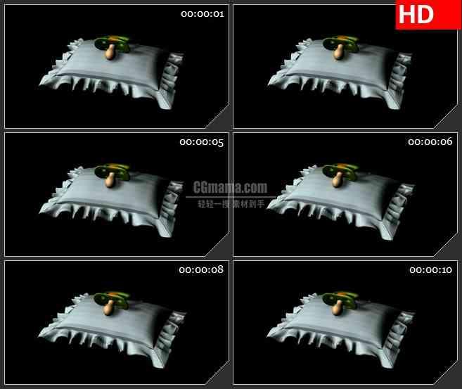 BG1615儿童卡通白色枕头奶嘴三维动画旋转动态LED高清视频背景素材