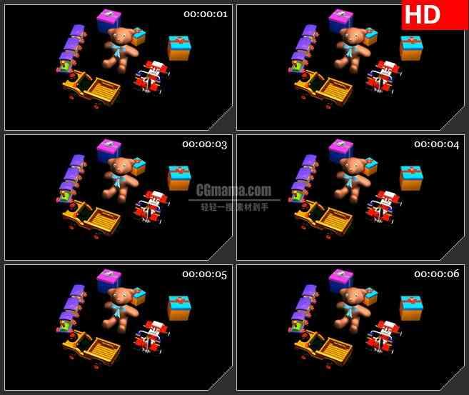 BG1616儿童卡通玩具小熊小火车礼物三维动画旋转动态LED高清视频背景素材