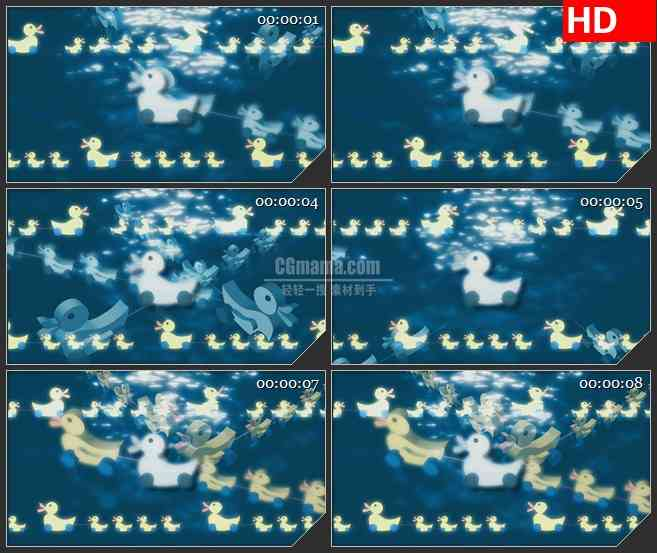 BG1617儿童卡通小鸭子蓝色水波运动动态LED高清视频背景素材