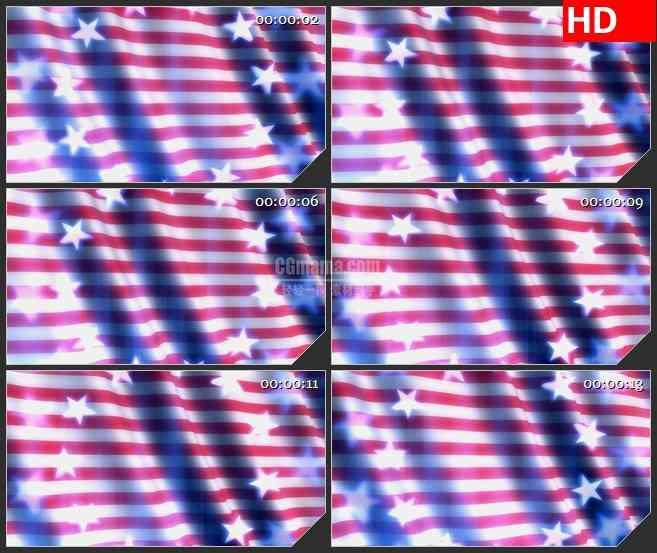 BG1623粉色白色条纹旗帜飘动白色星星圆环转动动态LED高清视频背景素材