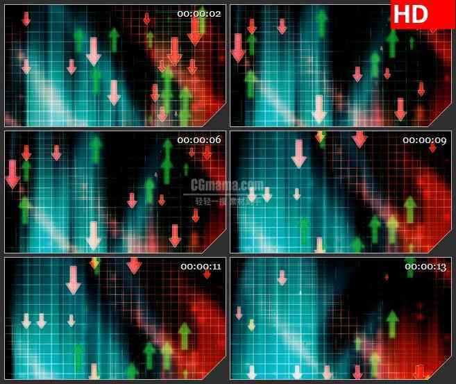 BG1632股票流网格上下移动红绿箭头动态LED高清视频背景素材