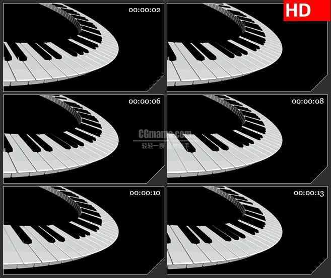BG1638黑白键盘旋转音乐黑色背景动态LED高清视频背景素材