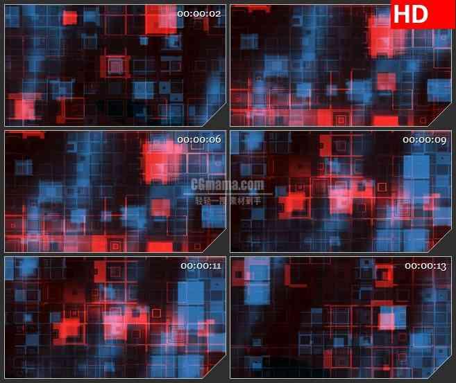 BG1644红蓝透明放歌透明方格变换动态LED高清视频背景素材