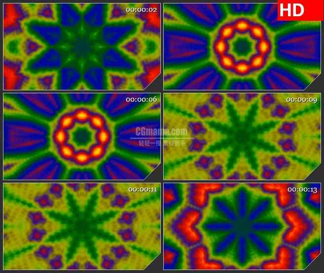 BG1646红绿紫蓝黄七彩扎染万花筒变换动态LED高清视频背景素材