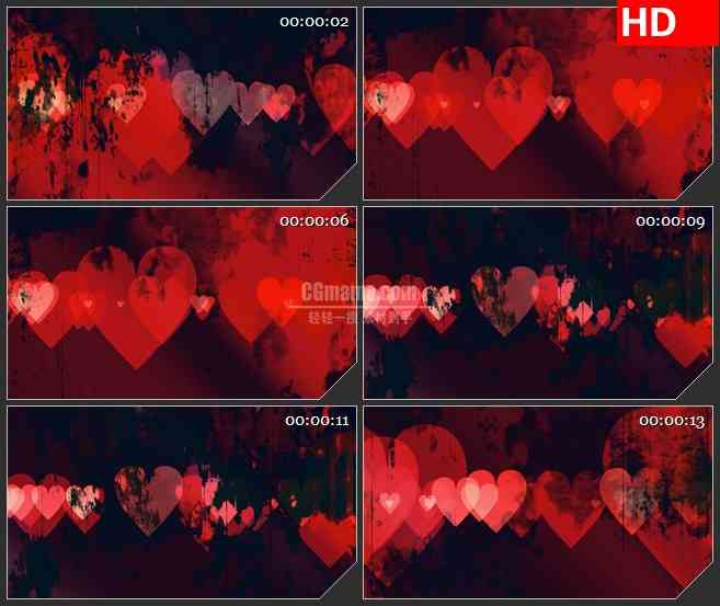 BG1656红色心形跳动火焰燃烧纹理动态LED高清视频背景素材