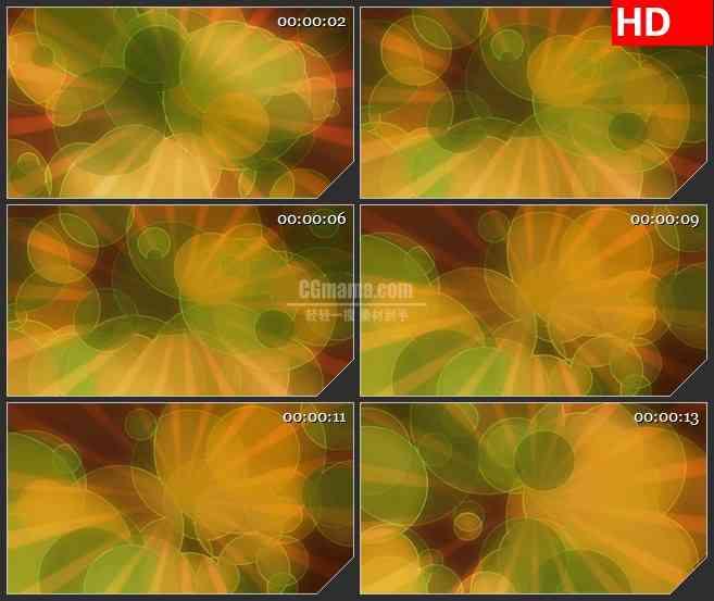 BG1664黄绿色日出大光斑背景虚化动态LED高清视频背景素材
