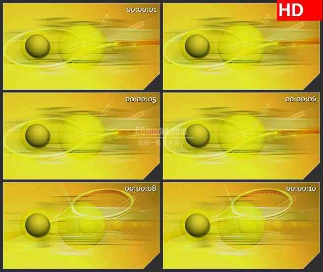 BG1673黄色网球球拍旋转三维动画动态LED高清视频背景素材