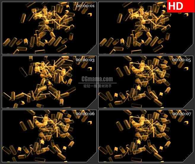 BG1691金色方块旋转特效合成透明高清视频素材