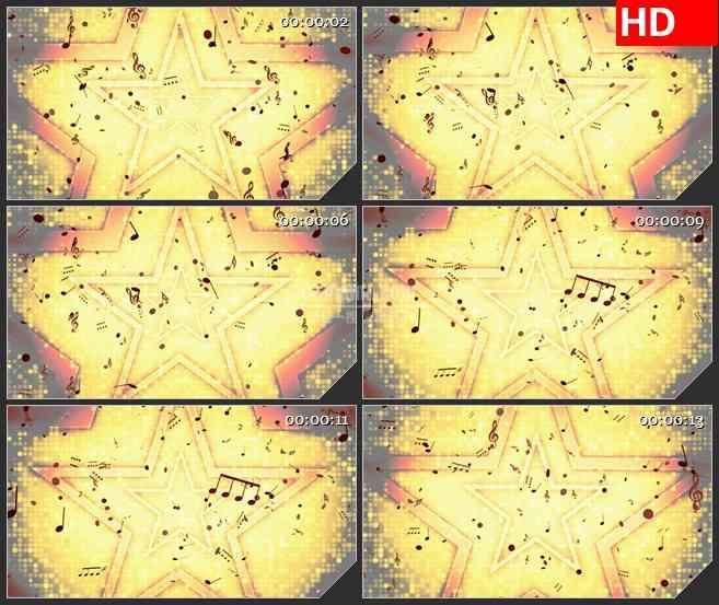 BG1694金色星星背景音乐音符粒子飞舞动态LED高清视频背景素材
