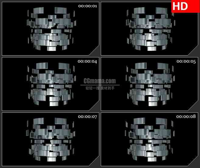 BG1699金属银盘旋转高清合成特效视频素材