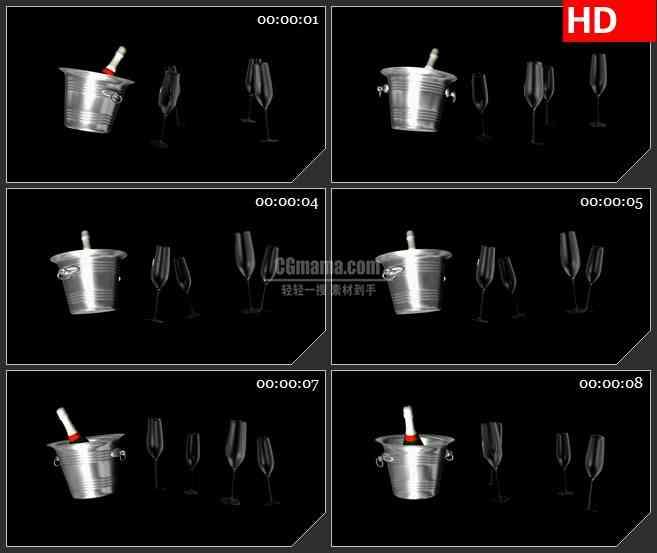 BG1701酒杯红酒瓶高清特效合成视频透明素材