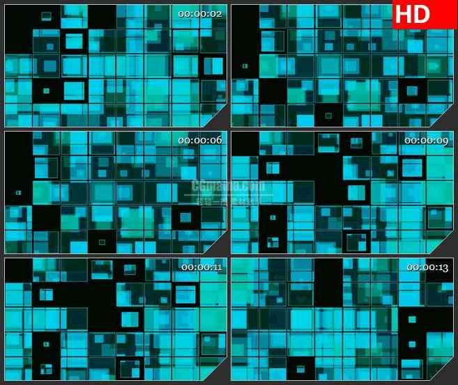 bg1710蓝色半透明方块跳动动态led高清视频背景素材