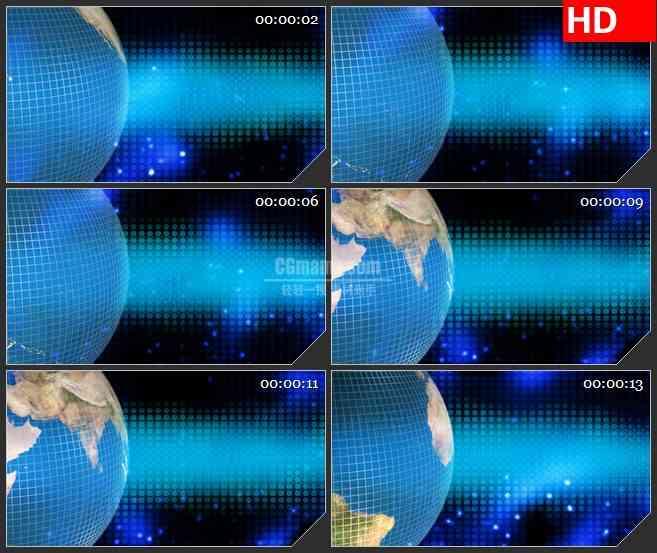 BG1718蓝色地球旋转蓝色波点背景动态LED高清视频背景素材