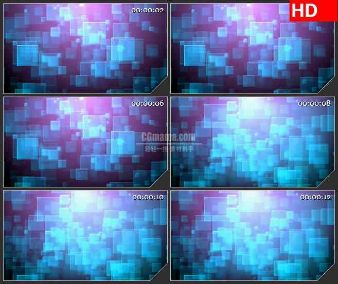 BG1721蓝色方块背景叠加变化下落动态LED高清视频背景素材