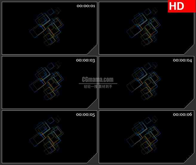 BG1728蓝色黄色网格叠加旋转动态LED高清视频背景素材