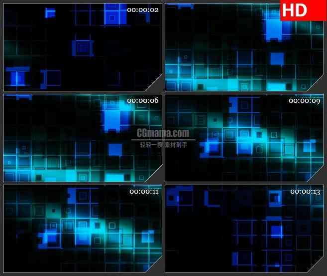 BG1734蓝色透明盒子格子变换动态LED高清视频背景素材
