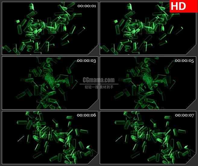 bg1756绿色的光束透明方块旋转高清特效合成视频素材