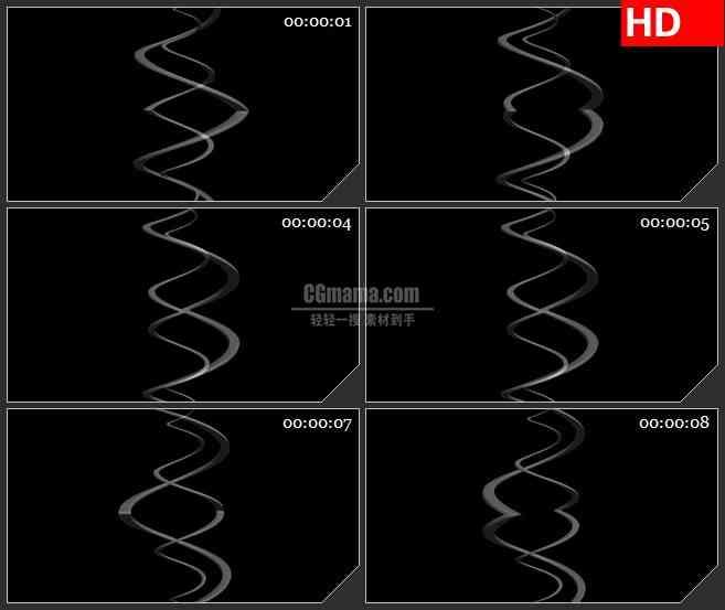 BG1763螺旋旋转缠绕半透明波浪线动态LED高清视频背景素材