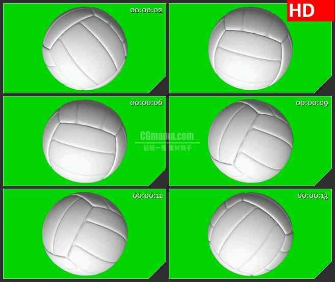 BG1772排球绿屏旋转三维动画动态LED高清视频背景素材