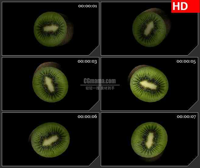 BG1776切开的奇异果水果三维模型旋转动态LED高清视频背景素材