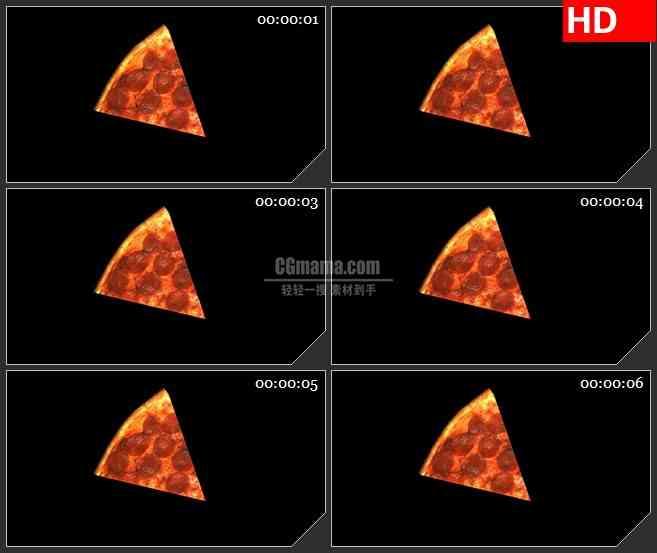 BG1777切开的香肠披萨食物三维模型旋转动态LED高清视频背景素材