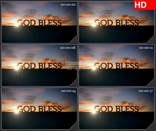 BG1781日落黄昏上帝保佑动态LED高清视频背景素材