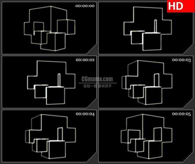 BG1787三维抽象立体网格动态LED高清视频背景素材