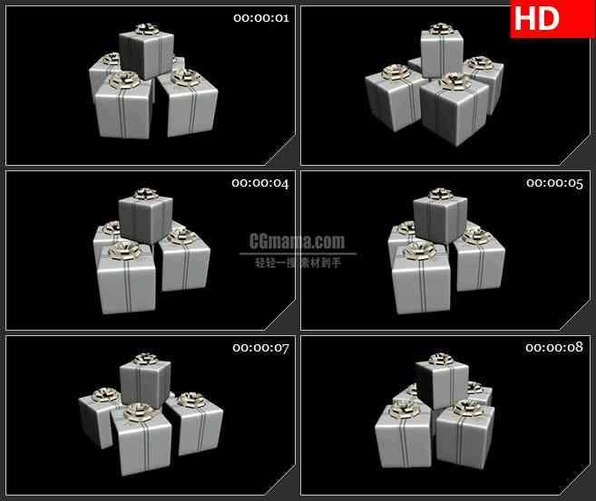 BG1788三维动画白色礼物盒子黑色背景动态LED高清视频背景素材