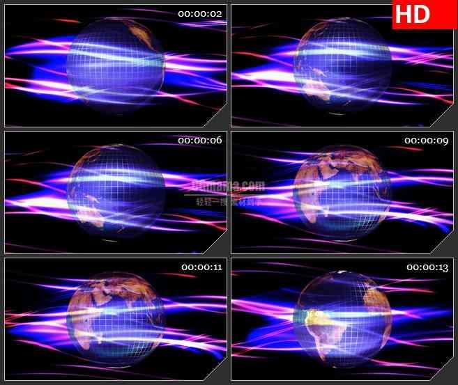 BG1789三维动画地球紫色光波线条黑色背景动态LED高清视频背景素材