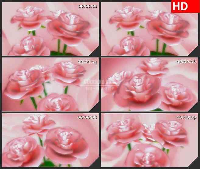 BG1790三维动画粉红色玫瑰浪漫爱情动态LED高清视频背景素材