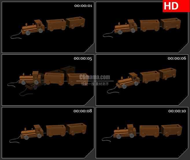 BG1801三维动画卡通儿童木头小火车动态LED高清视频背景素材
