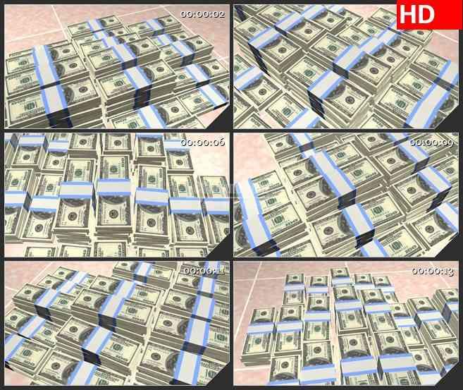 BG1803三维动画美元货币钱堆动态LED高清视频背景素材