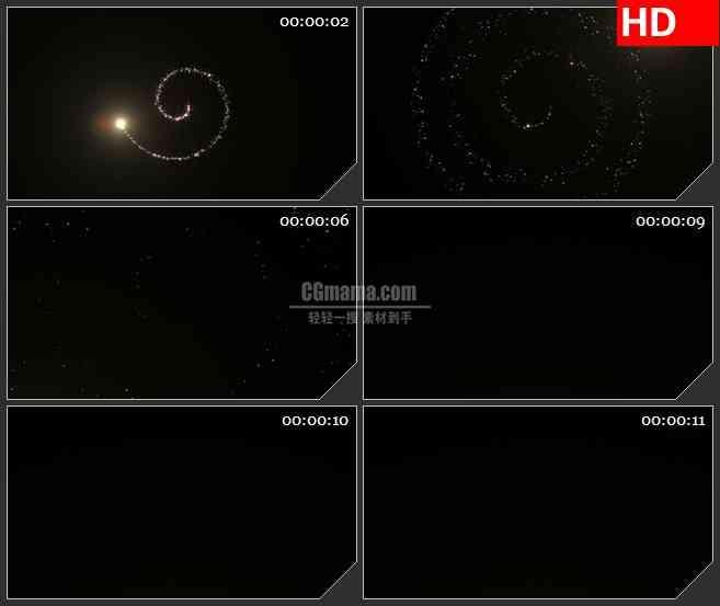 BG1807闪亮粉色粒子颗粒螺旋旋转透明通道黑色背景动态LED高清视频背景素材