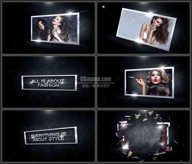 AE2816-黑色时尚 碎片复原展示屏 图文视频展示 宣传片