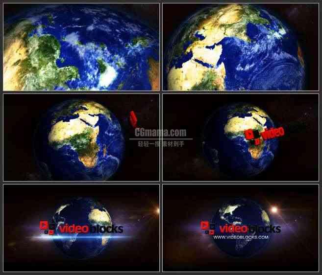 AE2824-转动的地球 宇宙空间 3D LOGO展示