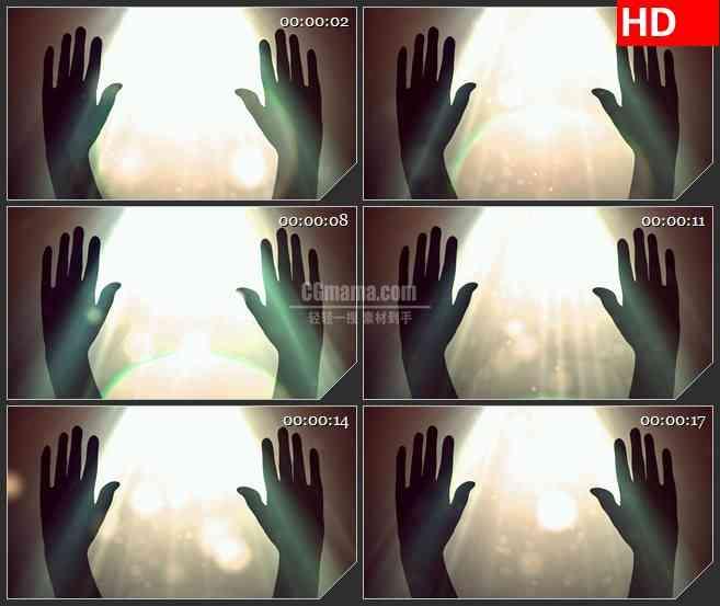 BG1825太阳光洒在手上剪影动态LED高清视频背景素材