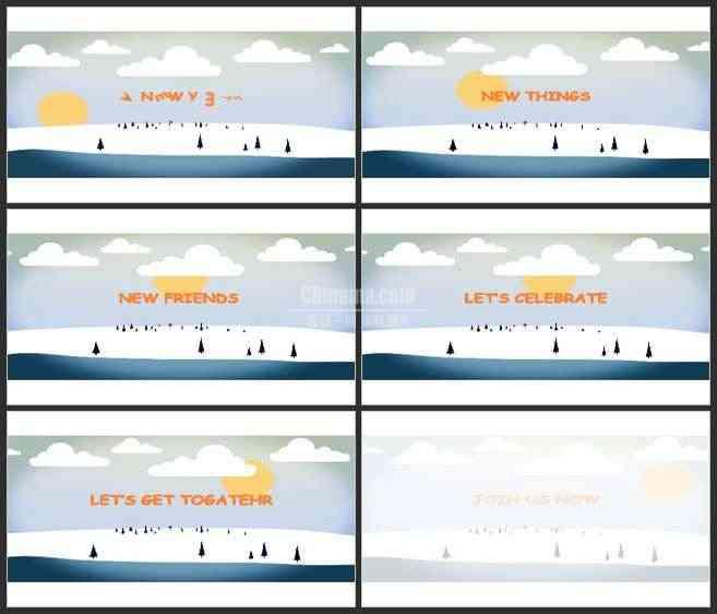 AE2969-简洁二维动画 新年圣诞宣传片