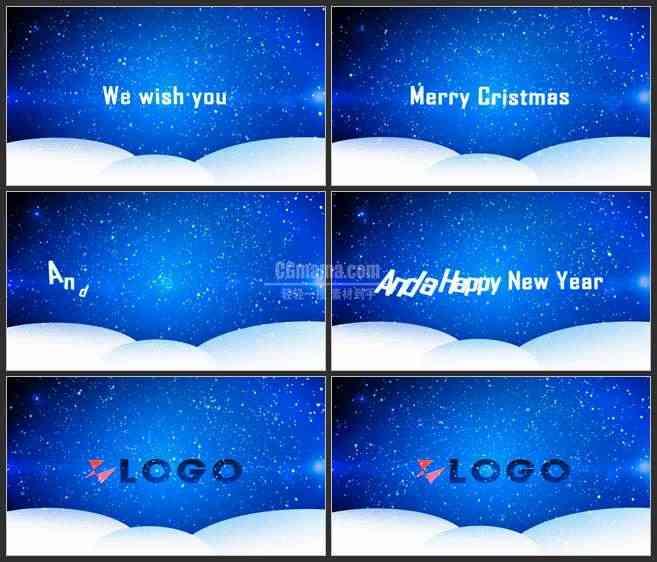 AE2975-圣诞雪景 文本LOGO展示