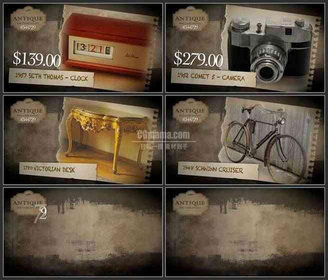 AE2979-古董拍卖 图文展示 宣传片
