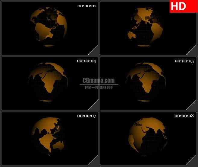 BG1868透明黄色金色地球世界版图球体旋转黑色背景动态LED高清视频背景素材